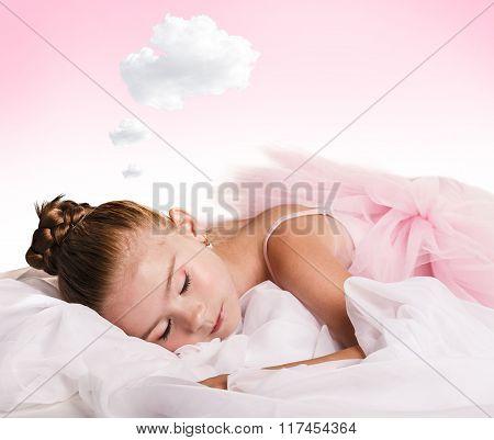 Girl dancer tired and asleep