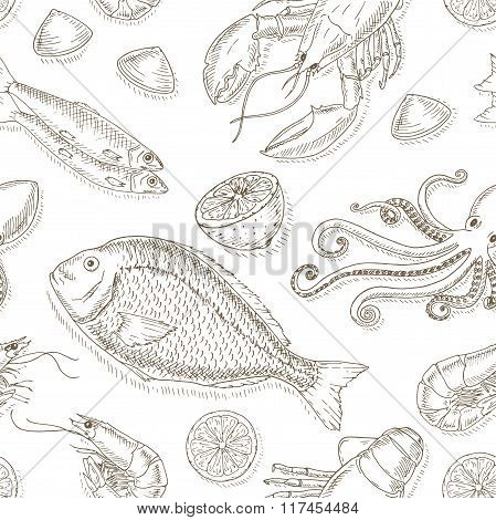 Seafood and fish set.