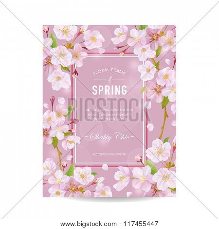 Spring Card with Cherry Blossom - Vintage Floral Frame - for Invitation, Wedding, Baby Shower Card - in vector