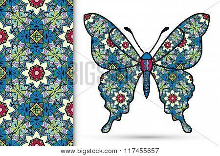 Decorative ornate butterfly and seamless floral geometric pattern, Mandala ornament