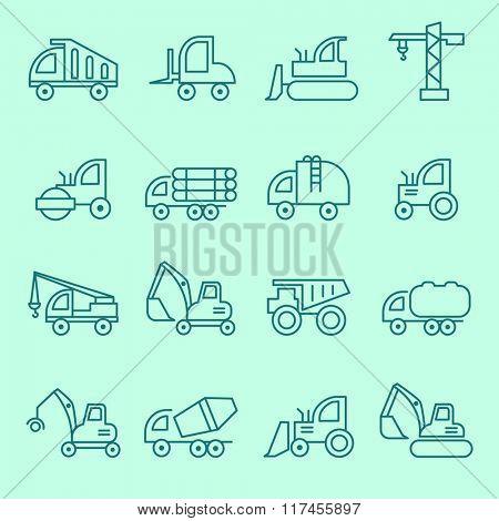Machines icon set, thin line flat design