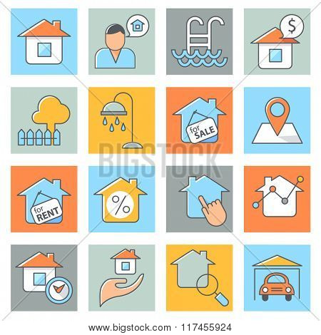 Real estate icons, thin line style, flat design