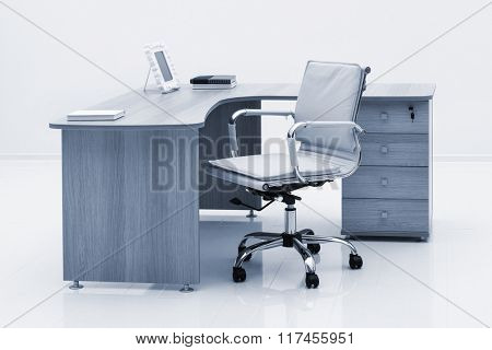 light wood desk in the office