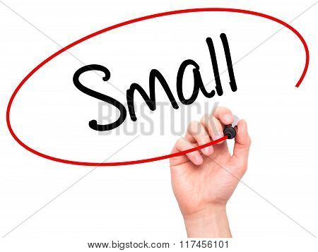 Man Hand Writing Small With Black Marker On Visual Screen.