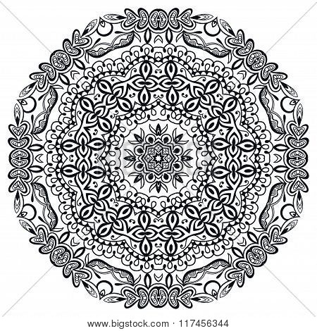 Mandala round ornament, floral geometric circular pattern