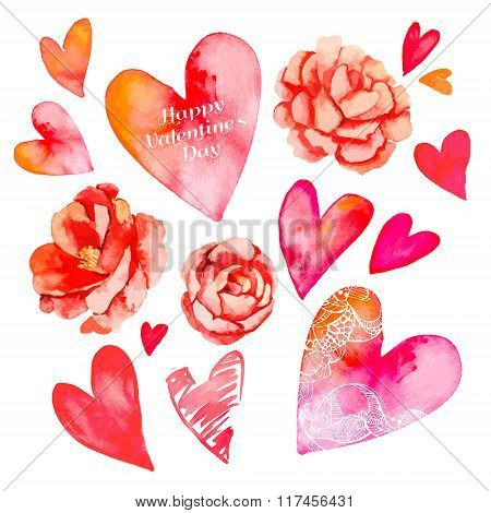 Set of hearts and roses. Valentine Day. Watercolor heart. Vector. Camellia.