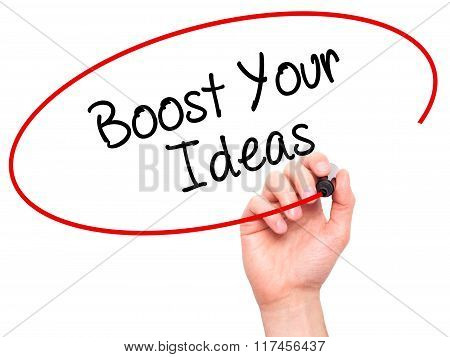 Man Hand Writing Boost Your Ideas With Black Marker On Visual Screen.