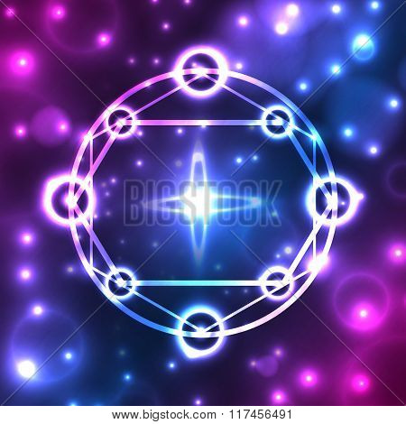 Abstract, mystical, fantastic, dark background with star, pattern, icon, icon geometric pentagram. W