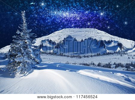 Fantastic winter starlight night