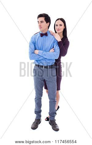 Full Length Portrait Of Young Pretty Couple Isolated On White