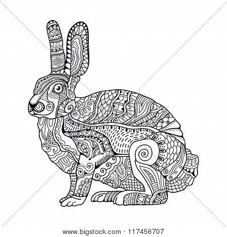 Zentangle stylized rabbit. Hand Drawn vintage doodle vector illustration for Easter.