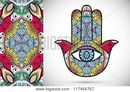 Vector boho hamsa hand, protection amulet, symbol of strength and happiness with semless geometric p