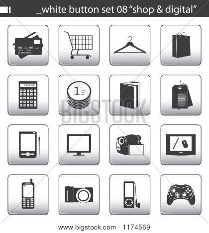 """Blanco botón Set 08 """"Tienda & Digital"""""""