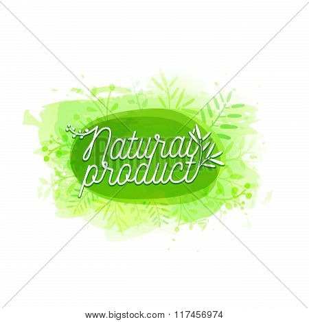 Template design logo, badge, label, banner with plants elements, wreaths and laurels green branches.