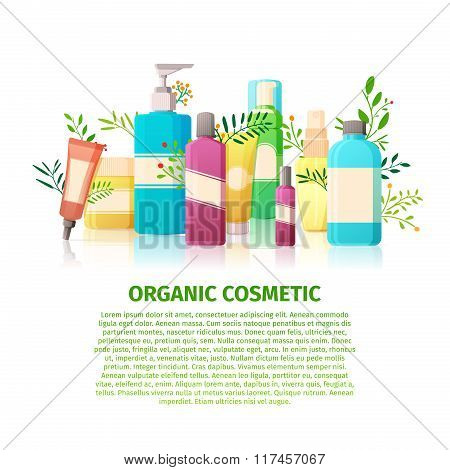 Template design banner, brochures, posters about the organic cosmetics. Nature beauty products for t