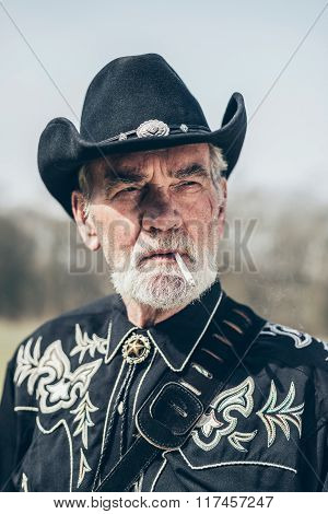 Handsome Elderly American Man In An Elegant Outfit