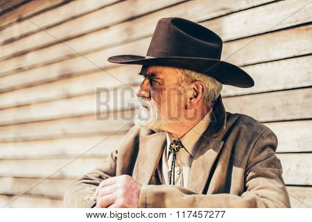 Pensive Old Western Man Looking To The Left
