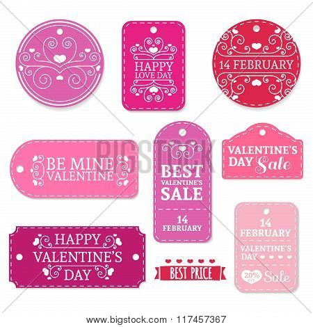 Set of pink Valentine's Day stickers, labels, labels, coupons.Valentine's Day discounts, promotions,