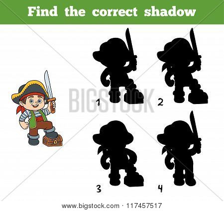 Find The Correct Shadow (pirate Boy And Chest)