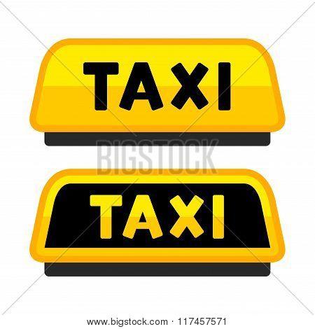Taxi Car Roof Sign. Logo Label Set. Vector