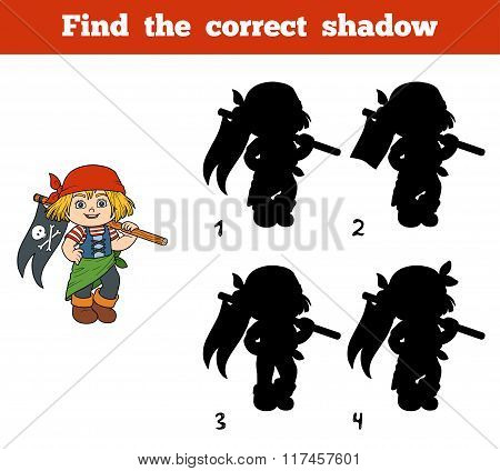 Find The Correct Shadow (pirate Girl And Flag)