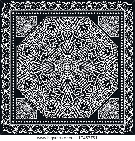 Abstract square pattern with geometric ornament, black bandanna shawl print