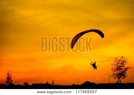 Paramotor Flying Silhouette