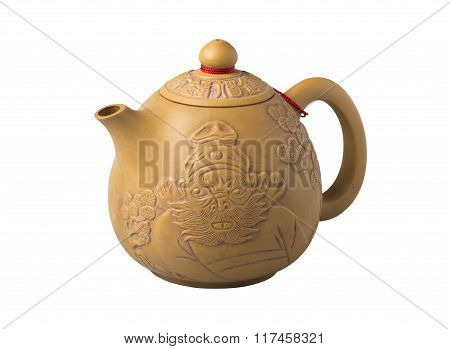 Earthenware Chinese tea pot isolate on white background