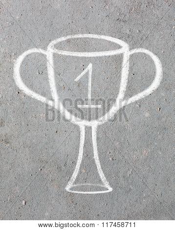 Trophy cup drawn