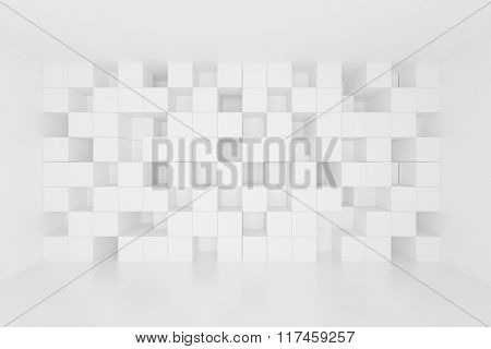 3d Abstract Geometric Background. White Cube Wallpaper