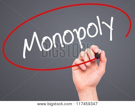 Man Hand Writing Monopoly With Black Marker On Visual Screen.