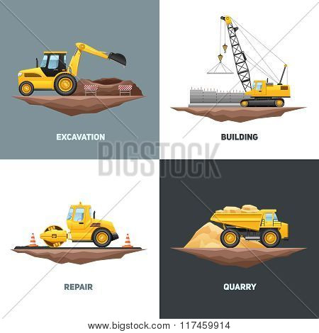 Construction Machinery 4 Flat Icons Square