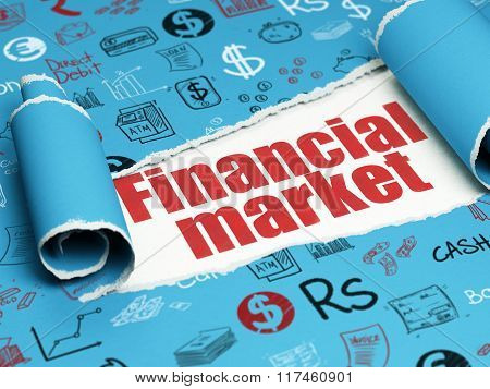 Money concept: red text Financial Market under the piece of  torn paper