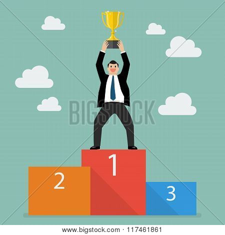 Winner Businessman With Winning Trophy Stand On A Podium