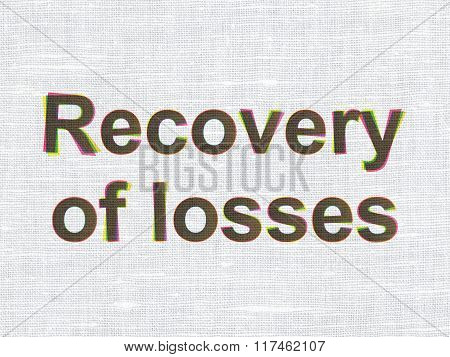 Money concept: Recovery Of losses on fabric texture background