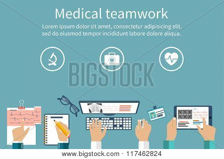 Medical Diagnostics Concept. Discussion And Research. Medical Workplace.