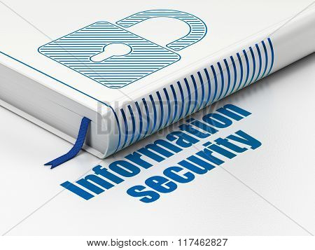 Protection concept: book Closed Padlock, Information Security on white background