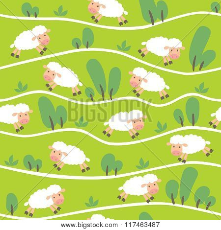 Seamless pattern with funny sheeps onthe hills