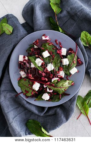 Food. Beetroot salad with cheese