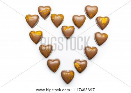 Milk chocolates heart from from above