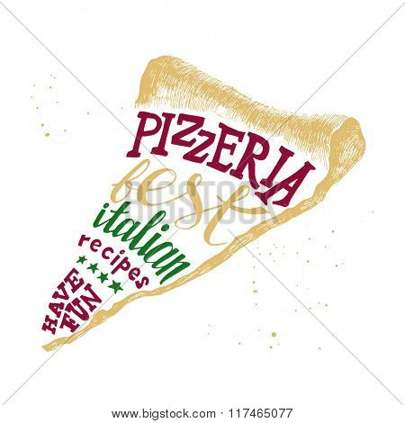 Pizzeria colorful hand drawn lettering