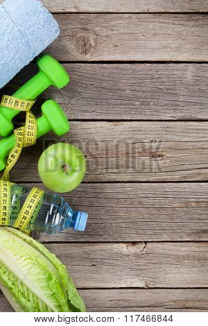 Healthy food and fitness background concept