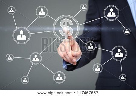 Businessman pushing button with icon dollar virtual. technology, internet and networking concept.
