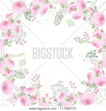 Square frame with contour roses and herbs on white. Floral pattern for your wedding design, floral greeting cards, posters.