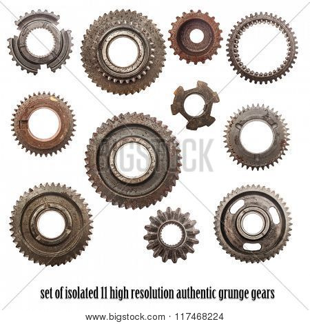 Grunge gear, cog wheels isolated on white. Ready to use cut out elements for concepts of industry, science etc. Very high resolution. Authentic motor parts.