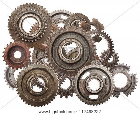 Grunge gear, cog wheels mechanism isolated on white. Industry, science concepts. Authentic motor parts.