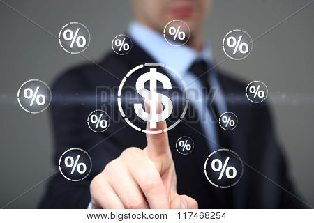 Businessman touch button dollar communication percent icon. business, technology and internet concep