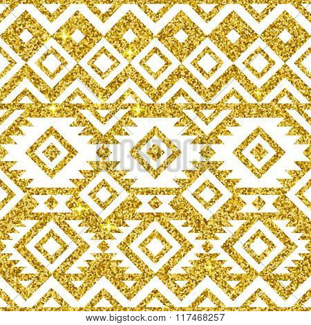 Gold and white tribal seamless pattern