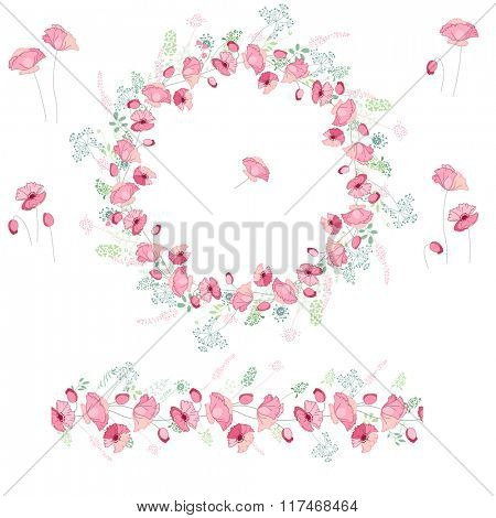 Floral round garland and endless pattern brush made of pink poppies. Flowers for romantic and easter design, decoration,  greeting cards, posters, advertisement.