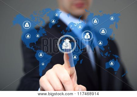 Businessman pushing button with dollar map currency web icon. business, technology and internet conc